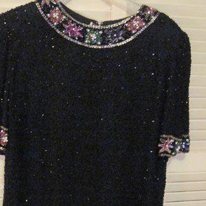 Black bead & sequine top estimate plus 2X lined